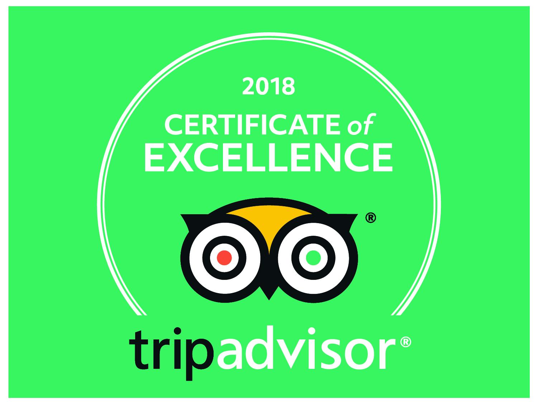 TripAdvisor Certificate of Excellence Award 2018